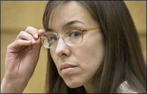 Defendant Jodi Arias sits in the courtroom during her trial at Maricopa County Superior Court in Phoenix.