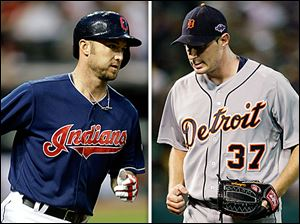 Cleveland Indians slugger Ryan Raburn (L) and Detroit Tigers starting pitcher Max Scherzer.