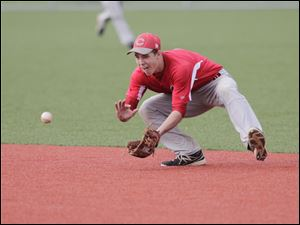 CCHS second base player Ryan O'Hearn fields a grounder.