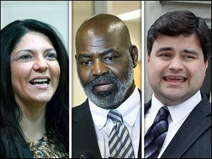 Democrats Anita Lopez, left, and Joe McNamara, right, are seen as Mayor Mike Bell's top challengers.