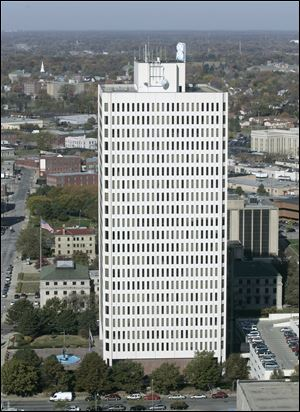 The Toledo mayoral candidates are all hoping to occupy the 22nd floor of One Goverment Center, above, home of the mayor's offices.