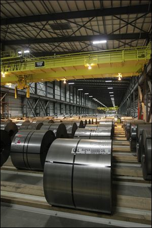 Coils of steel in the automated warehouse.