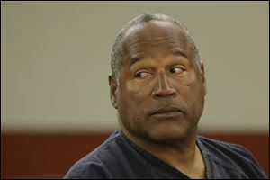 O.J. Simpson listens to testimony at an evidentiary hearing in Clark County District Court, Monday in Las Vegas.