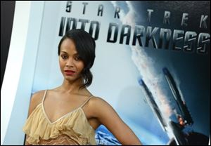 Zoe Saldana arrives Tuesday at the Los Angeles premiere of 'Star Trek Into Darkness.'