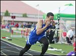 Findlay's Tyler Brown runs in the 400-meter race at the TRAC meet. Brown won the 200, 400, high jump, and long jump.