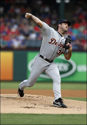 Detroit Tigers starting pitcher Justin Verlander (35) delivers to the Texas Rangers in the first inning of a baseball game, Thursday in Arlington, Texas.
