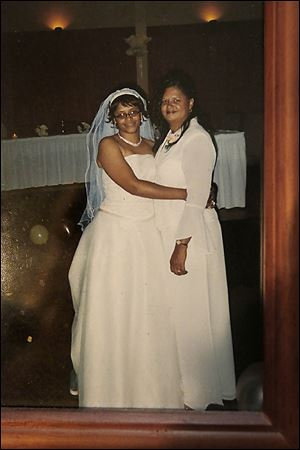 Wendabi Triplett, left, and her mother, Leslie Hays, at Ms. Triplett's wedding.