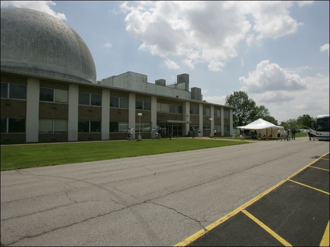 The Space Power Facility (SPF) at the NASA The Space Power Facility at the NASA Glenn Research Center's Plum Brook Station in Sandusky, Ohio. At right is a shuttle stop for visitors.