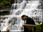 Alison Yasick views the scenery of  Brandywine Falls in Sagamore Hills.