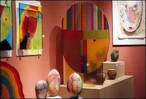 A collection of glass pieces by Tom McGlauchlin being shown at  20 North Gallery on South St. Clair on May 13, 2013. The gallery is closing after 20 years of operation.