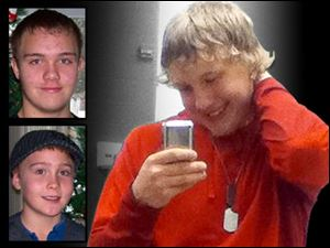 Michael Fay, 17, right, in a Twitter photo, was charged Friday with the double murder of Blake Romes, 17, top left, and Blaine Romes, 14. The three teenagers lived together in Ottawa, Ohio.