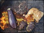 Eggplant, Chapli Kebab, Lamb Steaks with Szechuan Pepper Rub, and Bahamian Grilled Chicken.