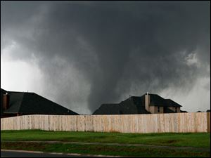 The tornado moved past these homes.