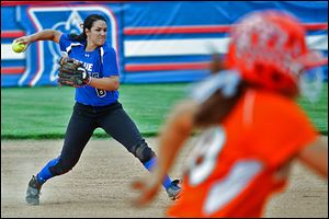 Springfield's Hannah Girlie throws to first base. She leads the Blue Devils with a .472 batting average and 46 RBIs.