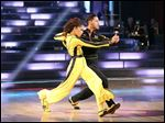 Actress Zendaya Coleman and her partner Val Chmerkovskiy performing on the celebrity dance competition series