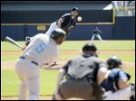 Syracuse's Chris Rahl makes contact on a pitch from Mud Hens starter Derek Hankins.