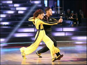 "Actress Zendaya Coleman and her partner Val Chmerkovskiy performing on the celebrity dance competition series ""Dancing with the Stars,"" in Los Angeles."