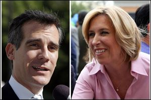 Los Angeles mayoral candidate Eric Garcetti, left, and challenger Wendy Greuel, right.