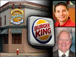 Jimmy Harmon, 42, of Denver, top right, will take immediate control of Bennett Management, owned by Robert Bennett, bottom right, who died earlier this month. The company owns area Burger Kings and Tony Packo's restaurants.