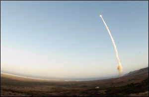 An image provided by Vandenberg Air Force Base shows an unarmed Minuteman III intercontinental ballistic missile being launched during an operational test today from Launch Facility-4 on Vandenberg AFB, Calif.