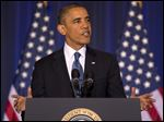President Barack Obama talks about national security at the National Defense University at Fort McNair in Washington.