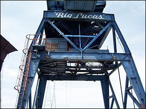 Big Lucas shows signs of needing a new coat of paint to cover the large rust patches on the crane's massive body.