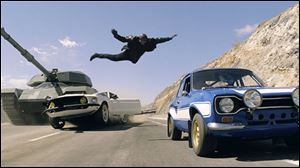 "An action scene scene from ""Fast & Furious 6."""