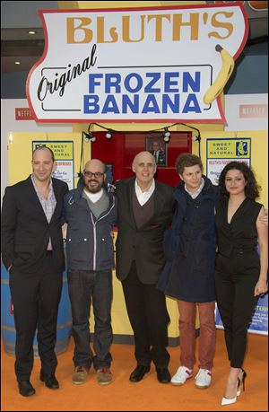 Actors from left to right, Tony Hale, David Cross, Jeffrey Tambor, Michael Cera and Alia Shawkat attend a screening of Arrested Development Season 4 at a central London cinema.