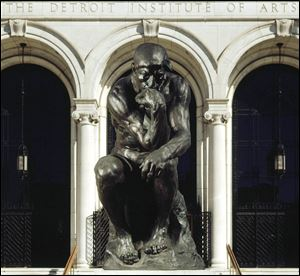 Auguste Rodin's 'The Thinker' (1904) was conceived as representing Dante, the central figure of Rodin's monumental sculpture 'The Gates of Hell.' It's installed in front of the DIA on Woodward Avenue.