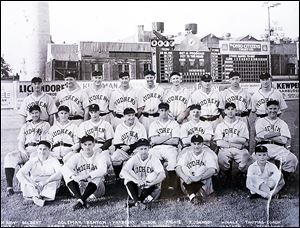 A 1932 team photo of the Mud Hens. Ken Silverthorne, front right, was the team's bat boy.