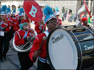 Bowsher High School band bass drummer Dorian Law.