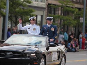 Grand Marshalls for the parade are U.S. Coast Guard Lt. Cmdr. Charles Bright, left, and Senior Chief Petty Officer Jay Galazin.