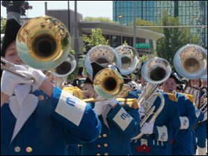 The Anthony Wayne band in performs in the parade downtown.