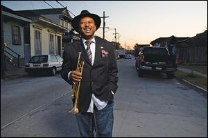 A promotional photo of Kermit Ruffins taken in his hometown New Orleans.