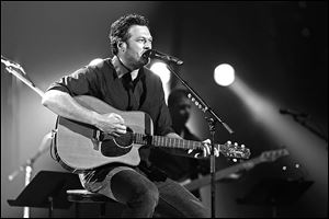 Blake Shelton performs during the Healing in the Heartland: Relief Benefit Concert held at the Chesapeake Arena in Oklahoma City. Tickets to the concert sold out in minutes.