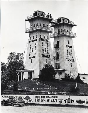 The Irish Hills Towers were famous for their origin; the second tower was built by a neighbor, Edward Kelly, who opposed the first one.