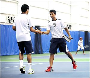 Maumee Valley's Navdeep Bais, left, and Annu Reddy fell in the second round of Division II doubles.