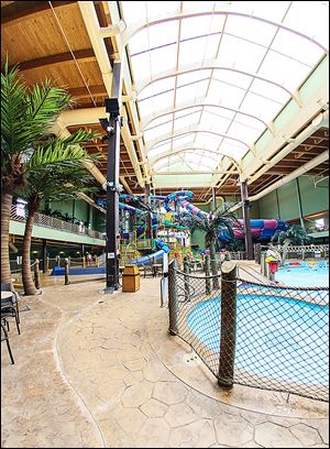 Maui Sands Resort Water Park in Sandusky has reopened after closing in 2008. The 45,000-square-foot complex features a giant bowl slide, inner tube and body slides, an action river, and multiple pool areas.