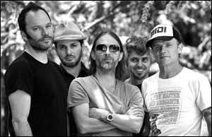 Members of Atoms For Peace, from left, Nigel Godrich, Joey Waronker, Thom Yorke, Mauro Refosco, and Flea.