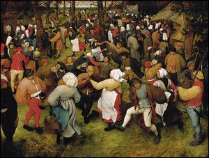 'The Wedding Dance,' by Pieter Bruegel the Elder, 1566, is among the works on display at the Detroit museum.