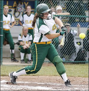 Clay's Emily Novak gets a hit against  Elyria in the Division I regional final. The Eagles finish with a  26-4 record..
