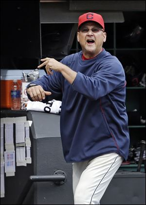 Cleveland Indians manager Terry Francona gets in the last word after being ejected by home plate umpire Bill Welke in the fifth inning of a game against the Tampa Bay Rays.