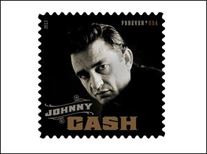 This product image released by the Unites States Postal Serice shows the Johnny Cash Forever stamp.  The stamp, honoring the late country music singer, will be available on Wednesday, June 5.