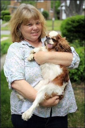 Liz Dickens holds her English toy spaniel, Winston, 7, at her home in Toledo. Winston suffered from frequent dislocations of his kneecaps, a common defect of smaller-breed dogs. One kneecap was fixed. Because the other kneecap defect is not as severe, Ms. Dickens is saving money for the second surgery.