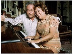 Carroll O'Connor and Jean Stapleton as Archie and Edith Bunker in their Queens, N.Y., home on the set of 'All in the Family,' which aired on CBS from 1971-1983.