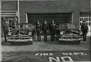 Firefighters stand outside the fire station on East Dudley Street in an undated photo. Maumee's actual anniversary was in the spring. It was founded as a settlement in 1817 but became a city in 1838.