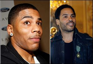Rapper Nelly, left, and Lenny Kravitz, right, will both appear on the CMT Awarts show Wednesday night.