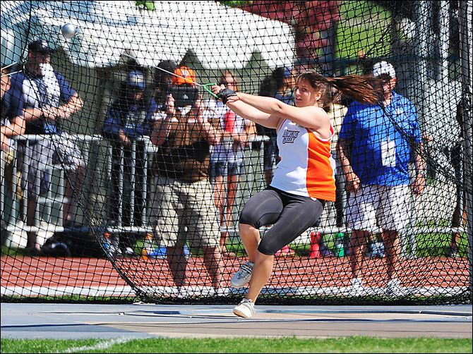 BGSU Brooke Pleger Sophomore Brooke Pleger, competing in the hammer throw, could become the first Falcon since 2001 to score points in the NCAA Divi­sion I track and field meet.