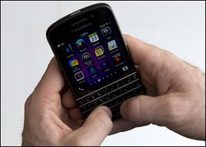 A BlackBerry Q10 smartphone.