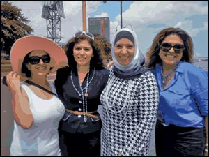 From left: Gladys Tamer, Najwa Badawi, Hanaa Salami, and Haydee DeLaFlor at the patriotic cruise.
